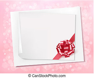 Holiday background with sheet of paper and pink bow. Vector illustration.