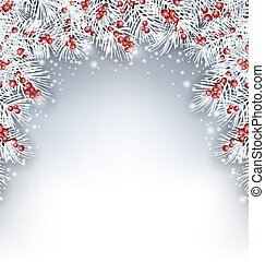 Holiday Background with Silver Fir Twigs and Holly Berries