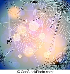 Holiday background with spiders and web. Seasonal...