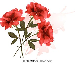 Holiday Background With Three Red Roses. Vector.
