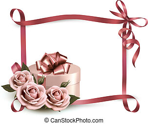 Holiday background with three roses and gift box and ribbon. Vector.