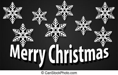 Holiday Background with white paper snowflakes on black winter backdrop Merry Christmas New Year Card Design