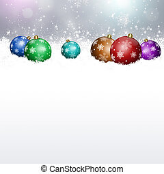 Holiday Balls on Snow - Winter snow background with xmas...