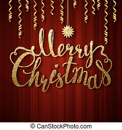 Holiday banner with decoration. Festive red curtain. Calligraphy gold texture inscription Merry Christmas and star.