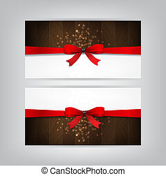 Holiday Banners with a red bow and wood.