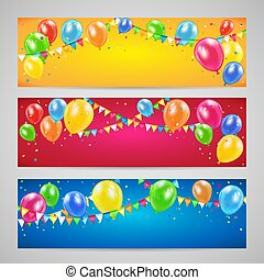 Holiday banners with balloons