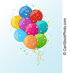 Holiday banners with colorful balloons. Vector. - Holiday...