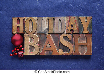 holiday bash words on blue