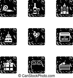 Holiday birthday icons set, grunge style