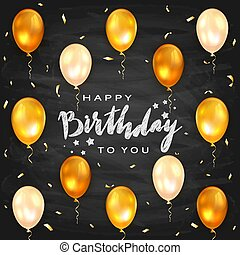 Holiday Blackboard Background with Golden Birthday Balloons