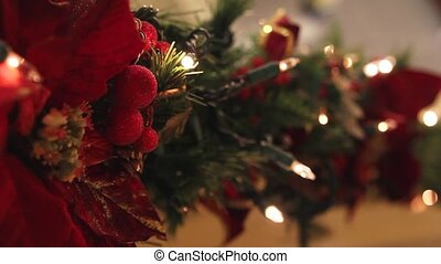 Holiday Blinking Christmas Lights Garland Decoration with Sparkly Blurred Out of Focus Bokeh Background 1920x1080