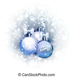 Holiday blue background with Christmas baubles