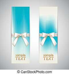 holiday blue banners with white bows
