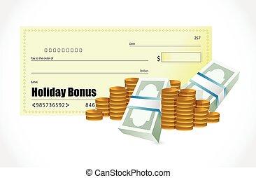 holiday bonus check illustration