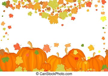 Holiday border with pumpkins and autumn leaves isolated on white background.