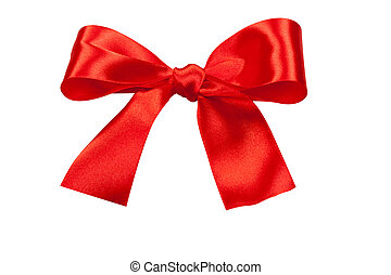 holiday bow - Big red holiday bow isolated on white...