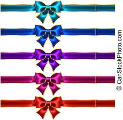 Holiday bows with gold border and ribbons - Vector...