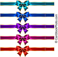 Holiday bows with gold border and ribbons