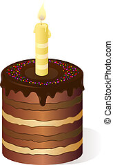 Holiday multilayer cake with candle. Eps 10