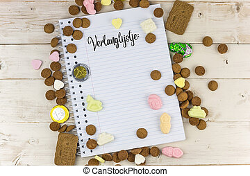 Holiday candy and notepad with the dutch word for wish list