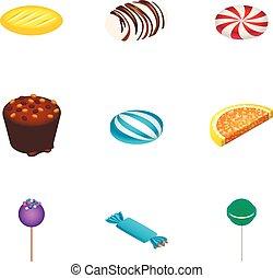 Holiday candy icon set, isometric style