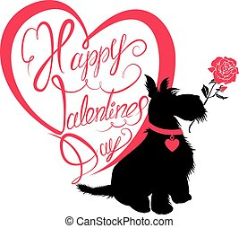 Holiday card. Calligraphic hand written text Happy Valentine`s Day in heart shape and scottish terrier dog silhouette with rose, isolated on white background.