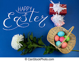 Holiday card, Easter banner with text - Happy Easter