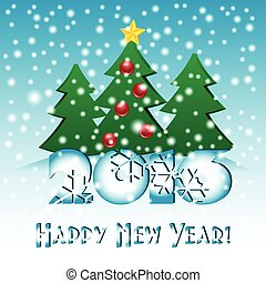 Holiday card for greeting with New Year and Christmas