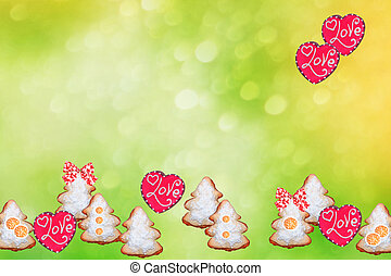 Heart. snow covered trees. Gingerbread Cookie