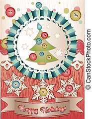 Holiday card in scrapbooking style for Christmas and New Year