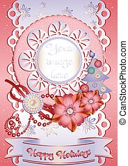 Holiday card in scrapbooking style for greeting with Christmas and New Year