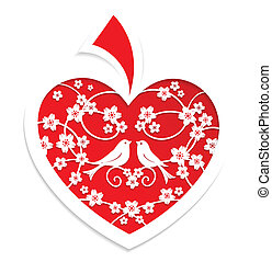 Holiday card is red heart with flowers and couple of birds. ...