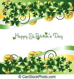 Holiday card on St. Patrick's Day. March 17 - day of good luck, fortunate shamrocks and leprechauns. Vector illustration