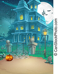 Holiday card with a mysterious Halloween haunted house and...