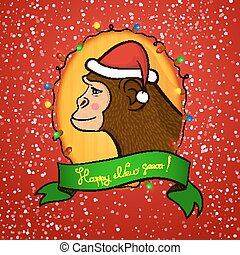 Holiday card with a New year, vector illustration