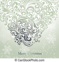 Holiday card with beautiful curly ornament