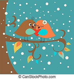 Holiday card with cute birds in love