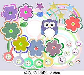 holiday card with cute owl and flowers