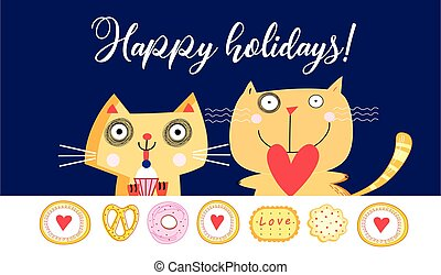 Holiday card with funny cats on a blue background