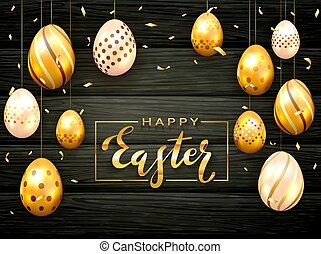 Holiday Card with Golden Easter Eggs on Black Wooden Background
