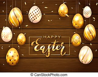 Holiday Card with Golden Easter Eggs on Wooden Background