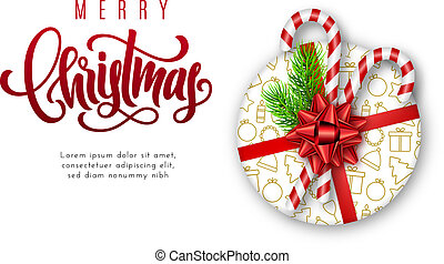Holiday card with lettering, red bow, fir tree branches, candy canes and Christmas realistic gift box with golden icons on white background