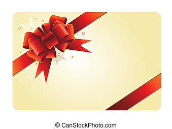 holiday card with red bow