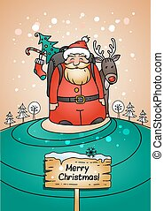 Holiday card with Santa Claus, gifts and reindeer. Vector...
