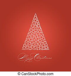Holiday card with white Christmas tree on red background