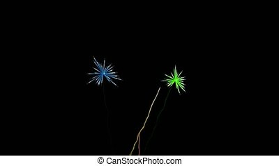 Holiday celebration, big fireworks at night. Computer...