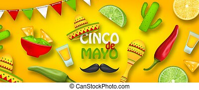 Holiday Celebration Poster for Cinco De Mayo with Chili Pepper, Sombrero Hat, Maracas, Piece of Lime, Cactus