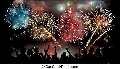 Holiday Celebration with fireworks show at night, silhouette of people watching a festive fireworks display, vector background