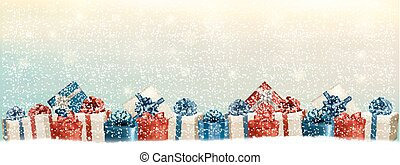 Holiday Christmas background with a border of gift boxes....