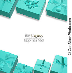 Holiday Christmas background with a border of turquoise blue gift boxes